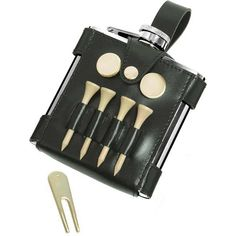 GB 6 oz. Hip Flask with Black Leather Wrap and Golf Tools