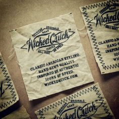 Here's a peek at our new labels, which will be hand-sewn on the bottom hem of each garment. Our new motto? Hell-bent on speed ;)