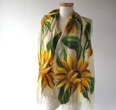 Linen scarf  Sunflower scarf Summer linen scarf Floral linen scarf  felted aplication natural flax by galafilc on Etsy