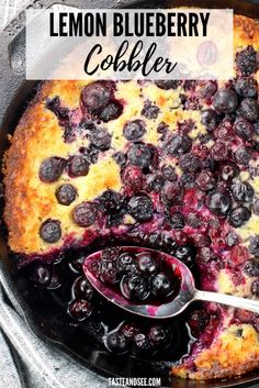 This Cast-Iron Lemon Blueberry Cobbler is sweet and tart and bursting with berry flavor! The crust is buttery and golden around the edges giving it the most mouth-watering texture and taste. Easy Blueberry Cobbler, Blueberry Desserts, Fun Desserts, Delicious Desserts, Dessert Recipes, Healthy Desserts, Fruit Cobbler, Blueberry Bread, Fruit Recipes
