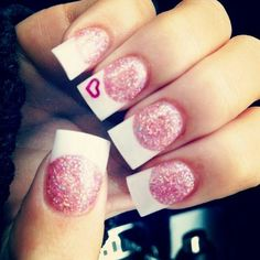 Cute glitter pink and white tip nails with heart