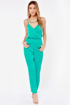 ff1de6229192 Stick around and enjoy the Let it Linger Teal Jumpsuit! Spaghetti straps  linger above a surplice bodice with an elasticized waist creating a stylish  shape.