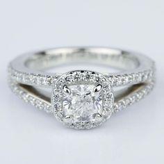 A stunning Split Shank Halo Cushion Diamond Engagement Ring in Platinum featuring a beautiful cushion diamond!