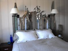 Apparently I have a lot of headboard ideas. not much else, but I do love a driftwood headboard Driftwood Headboard, Bohemian Headboard, Reclaimed Wood Headboard, Salvaged Wood, Pink Headboard, Weathered Wood, Recycled Wood, Headboard Designs, Headboard Ideas