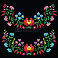 Hungarian Embroidery Design Hungarian floral folk pattern - Kalocsai embroidery with flowers and paprika - Hungarian Embroidery, Folk Embroidery, Learn Embroidery, Machine Embroidery, Hungarian Tattoo, Bordado Popular, Embroidery Designs, Motif Floral, Free Illustrations