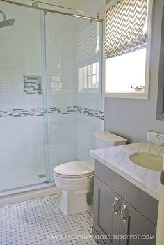 Rambling Renovators: Marble basketweave tile, large subway tile, gray vanity