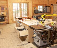 Tablesaw outfeed table with storage plus Behind the Unisaw is a 6x6' laminate-covered outfeed table. The smooth top allows heavy sheet goods to glide across it, and cleaning glue drips is easy. The table includes six large drawers for storing sanders, routers, and other hand tools and accessories. The opposite side is open to allow the air hose, dust pipe, and 110- and 220-volt conduits to exit through the floor.