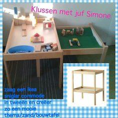 Bouwtafel, tentoonstellingstafel, thema-tafel Ikea Hack Kids, Ikea Kids Room, Table Langer Ikea, Nursery Practitioner, Ikea Bookshelf Hack, Preschool Set Up, I Love School, Mid Century Sideboard, Ikea Hackers