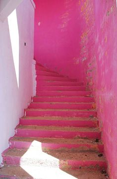 pink color-washed stairs