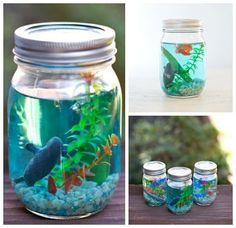 Haz este precioso acuario con tus hijos reciclando tarros de cristal. ¡Fácil y divertido!
