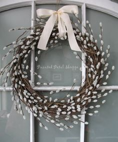 pussy willow wreath | Pussy Willow Wreath/ Rustic Spring Wreath/ Spring Wedding Decor