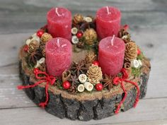 this is lovely - could be modified for advent wreath Christmas Advent Wreath, Christmas Candles, Christmas Centerpieces, Rustic Christmas, Winter Christmas, Christmas Time, Christmas Crafts, Christmas Decorations, Xmas