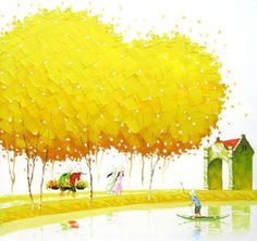 Phan Thu Trang was born Hanoi in Vietnam. Graduated from Hanoi Theatre and Cinema University. After the jump you can see artwork by Phan Thu Trang. For more info on the Phan Thu Trang, visit the website. Autumn Painting, Oil Painting Abstract, Painting For Kids, Watercolor Art, Painting Art, Pinturas Em Tom Pastel, Richard Burlet, Beautiful Vietnam, Colorful Paintings