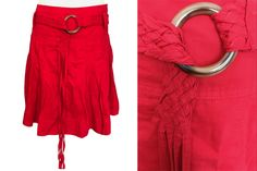 Pure Linen Cotton Blend Signal Red Flared Pleated Summer Festival Party Street Style City Break Skirt with Self Braided Fringe Long Belt Pleated Mini Skirt, Mini Skirts, Red Flare, Power Dressing, City Break, Festival Party, Outfit Of The Day, Outfit Ideas, Blue And White