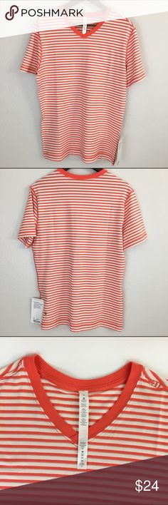 New Lululemon Men's 5 Year Basic V Shirt, Stripe M Brand new Lululemon Men's 5 Year Basic V Shirt Size M Stripe Orange and White  This shirt is soft and stretchy.  Engineered to be lightweight v-neck for comfortability and easy-wearing shirt.  Vitasea fabric feels super soft against your skin.  Added Lycra fibre for long-lasting comfort and stretch. lululemon athletica Shirts Tees - Short Sleeve
