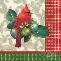 Jean Plout Digital Art - Holly And Berries-d by Jean Plout Christmas Bird, Christmas Clipart, Vintage Christmas Cards, Christmas Printables, Christmas Pictures, Winter Christmas, Christmas Squares, Christmas Patterns, Christmas Paper