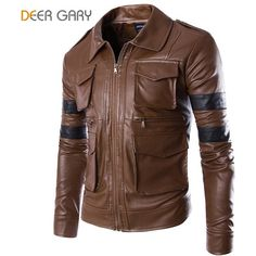 Leather Jacket Men Coat Multi-pocket Design, Motorcycle Jacket Solid Coat   #You #Sale #Thank