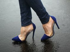 Blue pointy toe high heels with clear sides  The Haute Blonde- Fashion & Beauty Blog: Rainy Day Blues