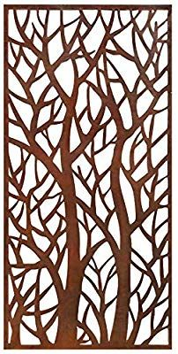 Stratco Decorative Privacy Screen Panel, Forest Design with Rustic Look x Lightweight Metal Laser Cut Screens, Laser Cut Panels, Laser Cut Metal, Laser Cutting, Rusted Metal, Metal Art, Outdoor Privacy Panels, Garden Privacy, Old Window Screens