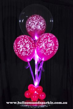 Gorgeous Pink Bubble Balloon Gift Delivery Bouquet with Pink Sparkle Ribbon® Clear Balloons, Bubble Balloons, One Balloon, Balloon Gift, Helium Balloons, Balloon Topiary, Balloon Decorations, Table Decorations, Gift Delivery