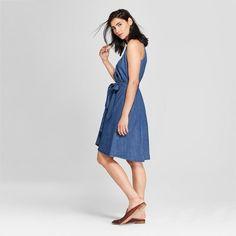 38c5a11c5d Women s Denim Wrap Dress - Universal Thread Medium Wash S