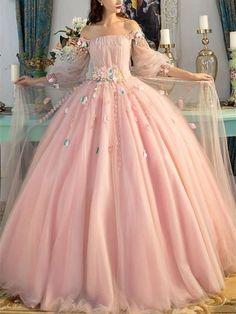 Fairytale dress prom - Aline Deep V neck Spaghetti Strap Wedding Dresses, Blush pink Bridal gown – Fairytale dress prom Ball Gowns Evening, Ball Gowns Prom, Ball Gown Dresses, Evening Dresses, Pink Ball Gowns, Vintage Ball Gowns, Tulle Ball Gown, Wrap Dresses, Evening Party