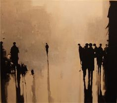 Painting from Geoffrey Johnson. His images carry a sense of reflection and solemnness. I'm instantly drawn to his use of sepia tones. Modern Art, Contemporary Art, Scandinavia Design, Illustration Art, Illustrations, Figurative Art, Painting Inspiration, Watercolor Art, Art Photography