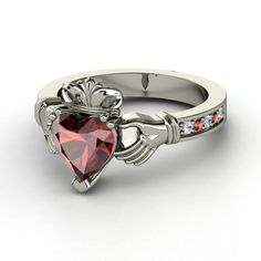Love this!!    Heart Red Garnet Sterling Silver Ring with Red Garnet & White Sapphire  This timeless design is inspired by the traditional Irish Claddagh Ring, which is given as a token of love or of marriage. The heart symbolizes love, the hands, friendship, and the crown, loyalty.
