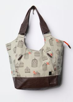 Bird Cage Taupe Tote Bag