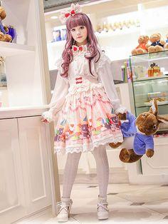 ロリィタスカート 可愛い プリント柄 パーティー シフォン