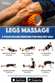 Foam Rolling – Recover your legs after running and cycling in no time Get Fitify App to get over 70 foam roller exercises (and many more) for free. Fitness Workouts, Yoga Fitness, Health Fitness, Fitness Quotes, Hiit Workouts For Men, Foam Roller Stretches, Stretching Exercises, After Run Stretches, Stretches For Swimmers