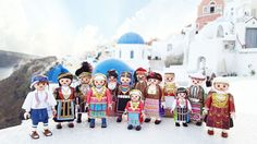 Playmogreek, little figurines dressed in traditional Greek national costumes - Greek City Times Expositions, Greece, Costumes, Traditional, City, Christmas, Painting, Collection, Travel