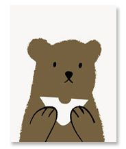 Butty bear, hand printed card by Lisa Jones Studio
