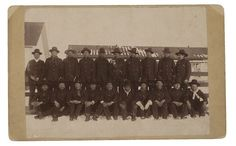 Northern Cheyenne group - 1898 L-R back row: Bird Bear, Tall Bull, Miles, Sitting Man, Arapaho Chief, Crane, Russell, Ballard, Spotted Elk, Rowland L-R: front row: Red Bird, Black Wolf, White Shield, Hollow Breast, Teeth, Wolf Name, Little Sun, Soldier Wolf, Young Bear, Sponge