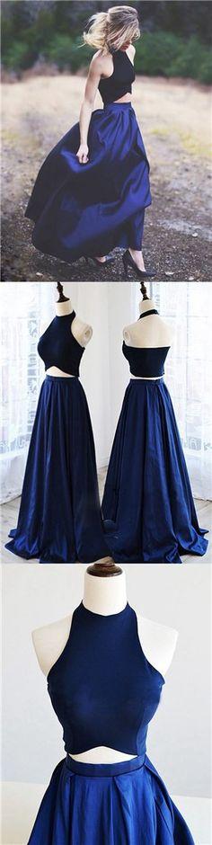 elegant prom dress, two piece prom dress, two piece party dress, long prom dress, royal blue prom dress, long royal prom dress, sleeveless prom dress, evening dress,a line prom dress