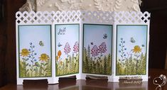 Paper folding screen stampin up trendy ideas Screen Cards, Diy Screen Door, Fancy Fold Cards, Folded Cards, Folding Screen Room Divider, Folding Screens, Screened Porch Decorating, Paper Folding, Pop Up Cards