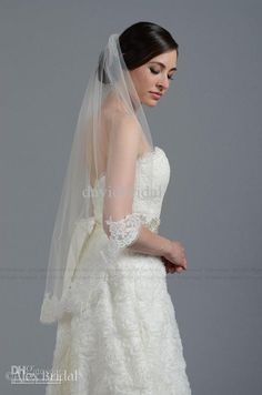 Veils Cheap 1 Layer Alencon Lace Fingertip Length Wedding Bridal Veil White Ivory 1 Tier Lace Edge Bridal Accessory Veil Transparent Tulle from Davidbridal,$5.62 | DHgate.com
