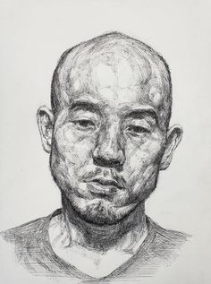 Korean Artist Sam Kim - Self Portrait (2014) - Pen drawing