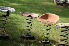 These are made out of old tractor seats - spring coil off a car - brake drums and brake rotors... They are fun because you cannot sit still while on them. You do have to have access to a welder or have someone weld them for you. He welded the 3 pieces together starting at the bottom working up. He welded the auto spring to the brake drum and then the seat to the spring.