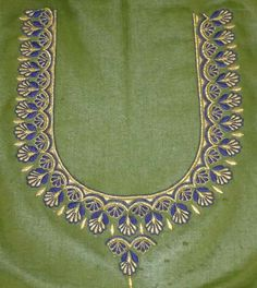 Hand Work Blouse Design, Simple Blouse Designs, Blouse Neck Designs, Brocade Blouse Designs, Blouse Patterns, Simple Embroidery Designs, Maggam Work Designs, Hand Designs, Flower Designs