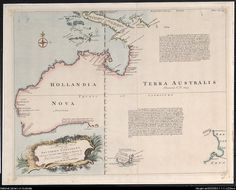A complete map of the Southern Continent, survey'd by Capt. Abel Tasman & depicted by order of the East India Company in Holland in the Stadt House at Amsterdam. Vintage Maps, Antique Maps, Terra Australis, Australia Map, Western Australia, Abel Tasman, East India Company, Old Maps, Us Map