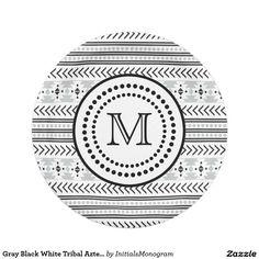 Gray Black White Tribal Aztec Pattern Monogrammed 7 Inch Paper Plate