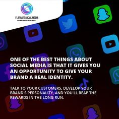 One of the best things about social media is that it gives you an opportunity to give your brand a real identity. Talk to your customers, develop your brand's personality, and you'll reap the rewards in the long run. We can help you develop that personality. Visit flatratesocialmedia.com #brandidentity #flatratesocialmedia #socialmedia #socialmediamarketing #digitalmarketing #digitalmarketingsolutions