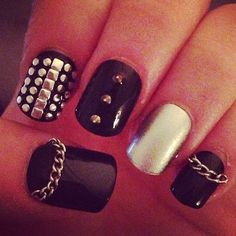 Black Nails with Studs | Nail fun | Pinterest ❤ liked on Polyvore featuring beauty products, nail care, nail treatments, nails, accessories and makeup