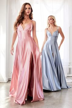 Satin A-Line Dress With Pleated Bodice & Leg Slit - Royal Boutique - Formal Wear Slit Dress, V Neck Dress, Lace Dress, Satin Gown, Satin Dresses, Long Satin Dress, Chiffon Dresses, Fall Dresses, Long Dresses