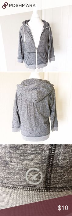 Lightweight Hoodie Dark heather gray, three quarter length sleeves, hooded, full zip jacket. American eagle. Size Medium American Eagle Outfitters Sweaters