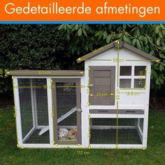 KonijnenhokGerlos- Afmetingen: 122 x 62 x 93cm Konijnenhok Gerlos is een knus konijnenhok in een mooie kleurstelling. Het hok heeft een ruim binnenverblijf voor een beschutte plek. Het konijnenhok is optioneel uit te breiden met een extra ren aan de rechterkant.Konijnenhok Gerlos beschikt over een ruime toegangsdeur in de ren, een uitneembare schuiflade in het nachthok en tevens een deur in het nachthok zelf. Zo is je konijn ten alle tijden makkelijk te bereiken.De rechter zijkant van de…