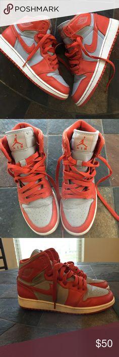 Air Jordan Orange and Grey Jordan , obvious wear . Still in great condition Jordan Shoes Sneakers Orange Sneakers, Shoes Sneakers, Jordan Shoes, Nike Air Force, Air Jordans, Fashion Design, Fashion Trends, Grey, How To Wear