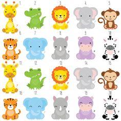 Safari Baby Animals Clipart / Jungle Animals Clipart / Zoo Animals Clipart - acrylbilder safari kinder - Home Party Animals, Jungle Animals, Animal Party, Wild Animals, Safari Party, Jungle Party, Baby Zoo, Baby Baby, Clipart Baby
