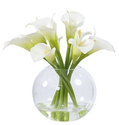"""This contemporary design is infused with calla lilies set in a glass vase. Size: L:11"""" x W:11"""" x H:9.5"""" Note: We ship throughout Canada & worldwide. For our international customers, please read our Shipping Policy for instructions on placing orders with us."""